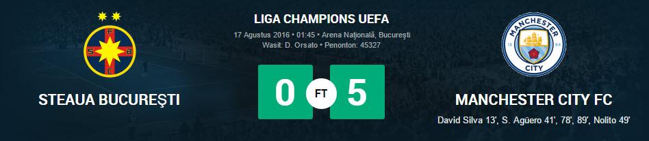 City Benamkan Steaua Bucharest 5 Gol Tanpa Balas