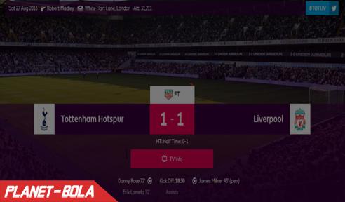 Hasil Laga Tottenham Hotspur Vs Liverpool