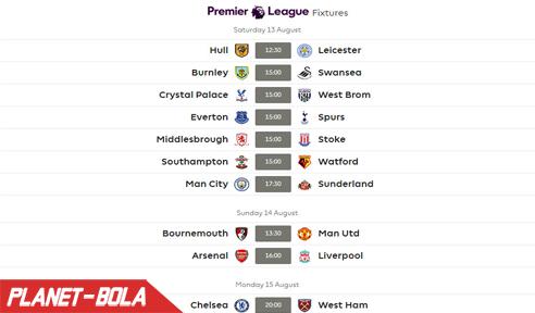 Jadwal Liga Inggris 2016 - 2017