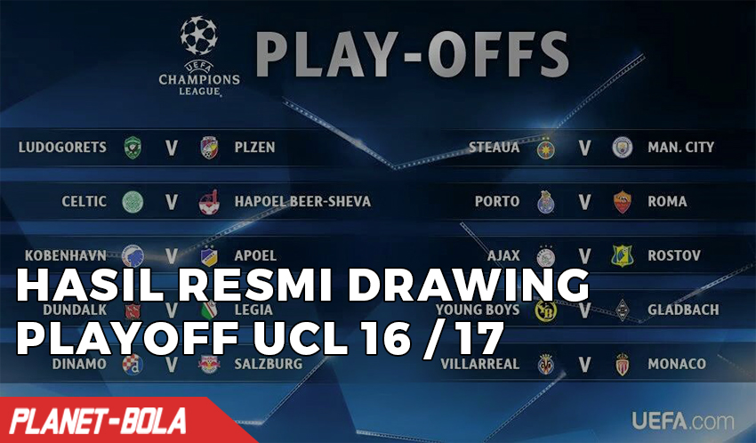 Hasil Resmi Drawing Babak Play Off Liga Champions 2016-2017