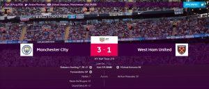 Skor Akhir Manchester City vs West Ham United
